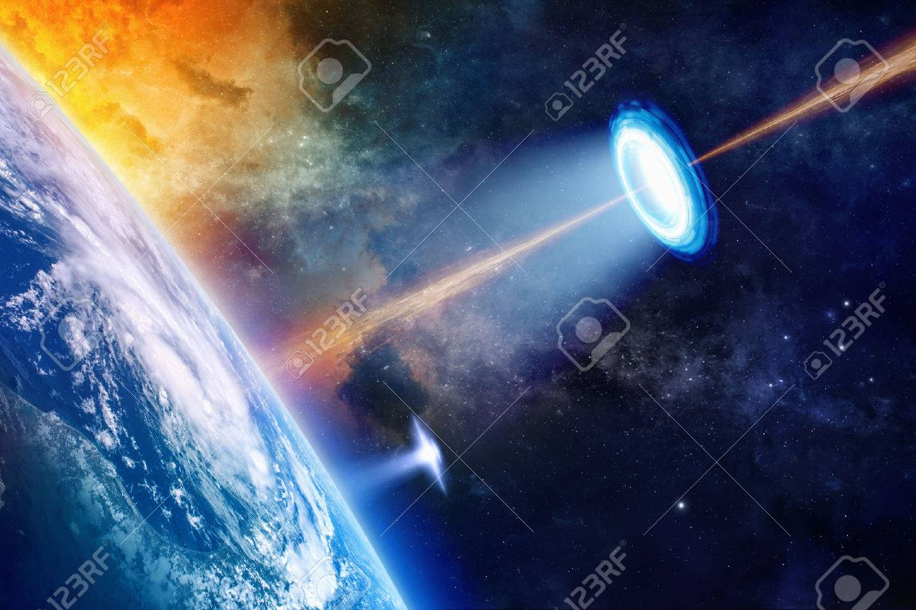Fantastic background - UFO shines spotlight on planet Earth, secret experiment, climate change, climatic weapon. Elements of this image furnished by NASA nasa.gov - 50720336