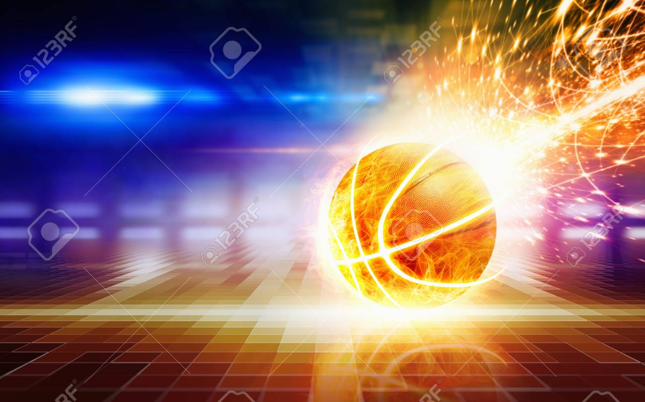 Abstract Sports Background Burning Basketball With Reflection