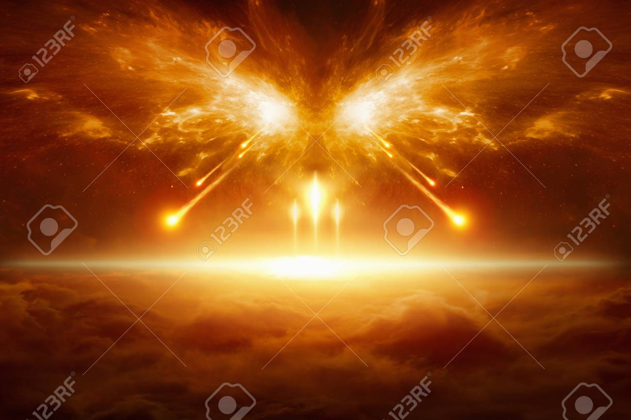 Apocalyptic religious background - end of the world, battle of armageddon, forces of evil destroy humanity - 89711667