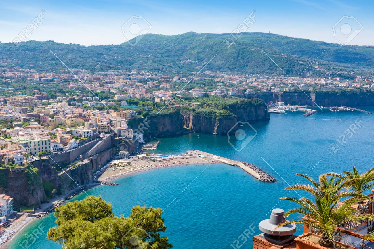 Aerial Daytime View Of Sorrento Amalfi Coast Italy Streets