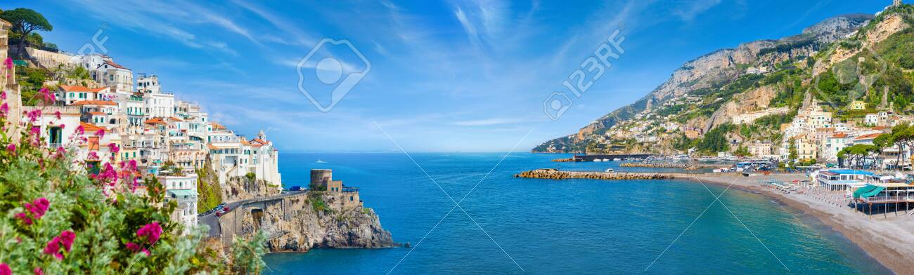 Panoramic collage of Amalfi in province of Salerno, region of Campania, Italy. Amalfi coast is popular travel and holyday destination in Europe. - 126889062