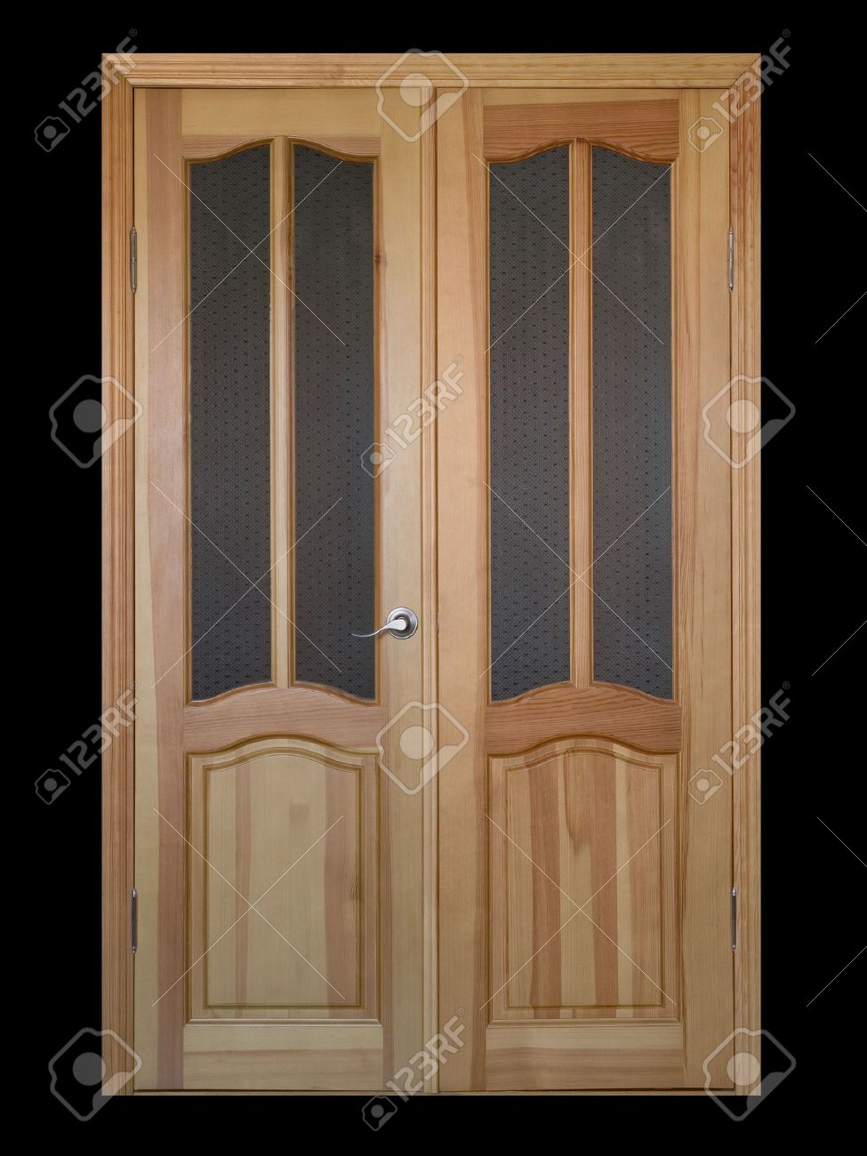 Two Leaf Wooden And Glass Door Isolated On Black