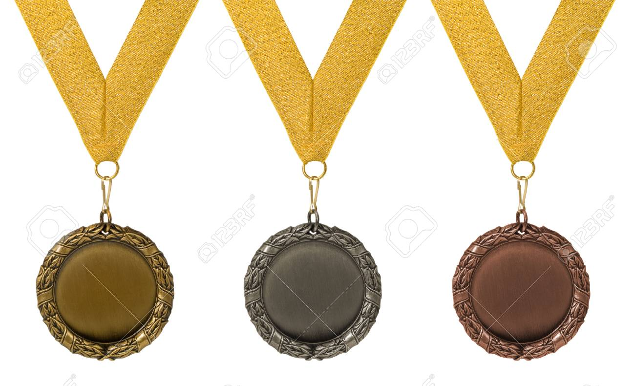 threee medals isolated over white. gold silver bronze Stock Photo - 2362833