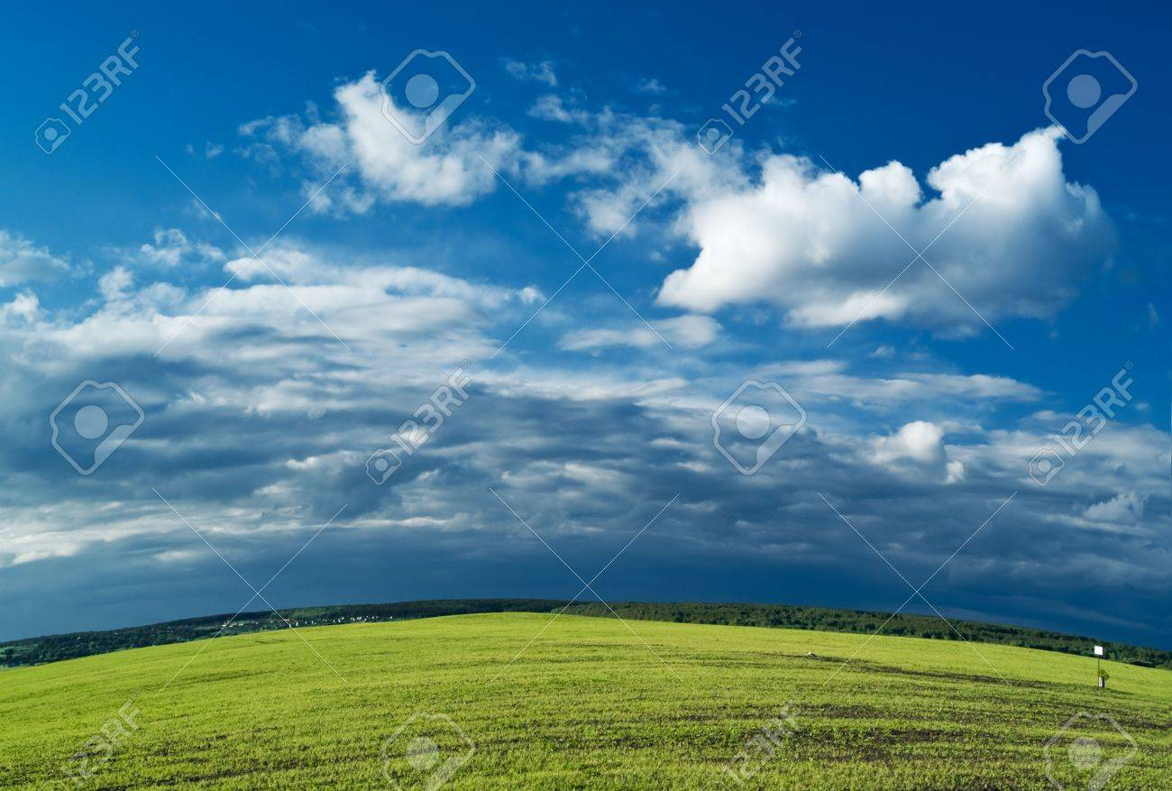 summer landscape with meadows and blue sky. earth spere Stock Photo - 2639300