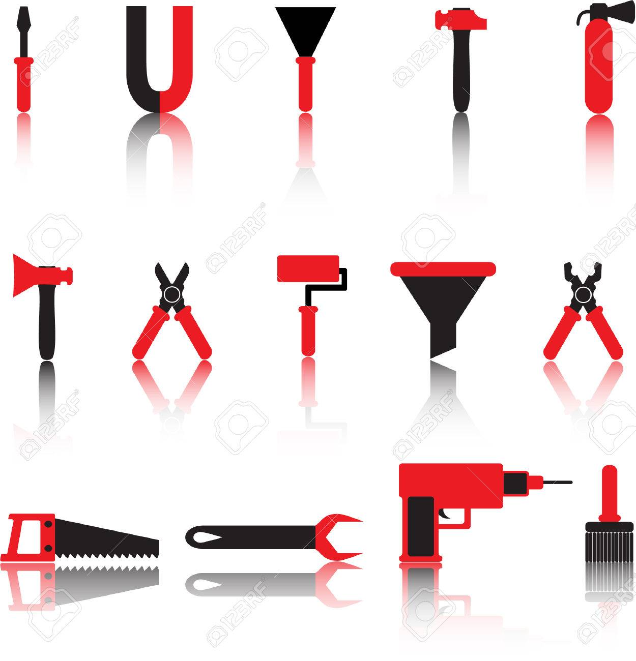 tools vector icons set. black and red Stock Vector - 4545030
