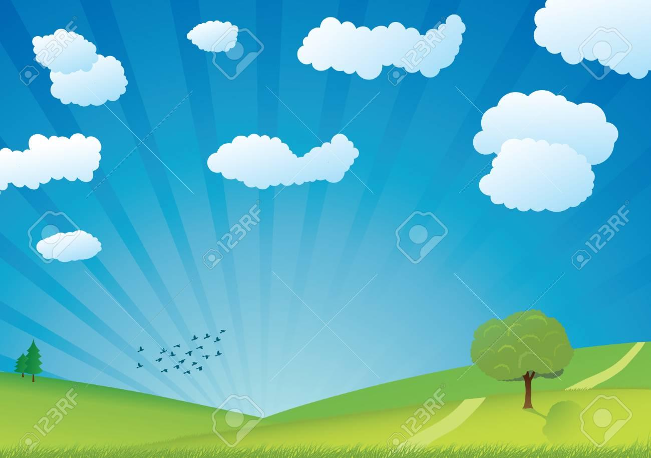 summer landscape vector Stock Vector - 4643733