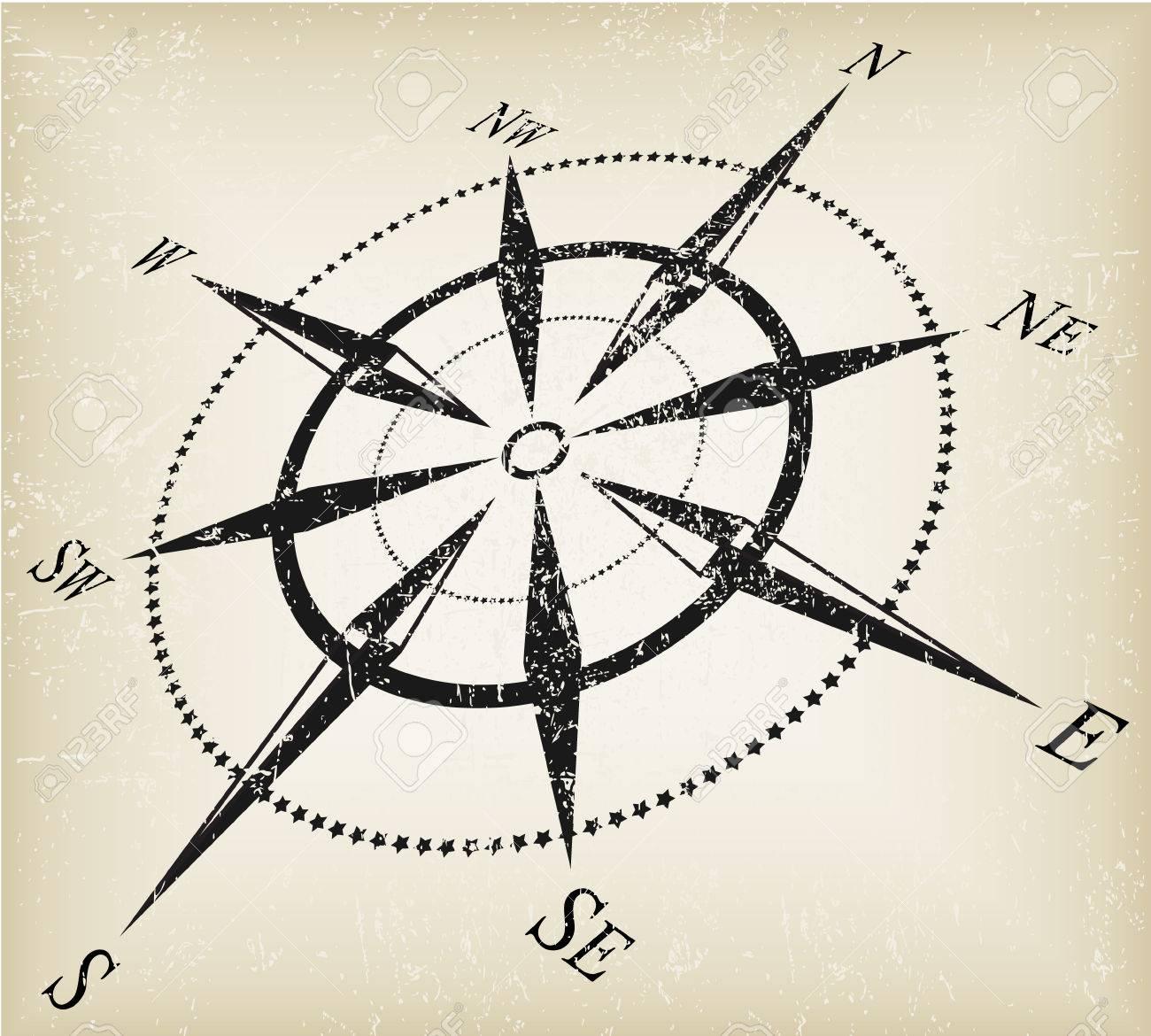 grunge black over brown compass vector Stock Vector - 5881755