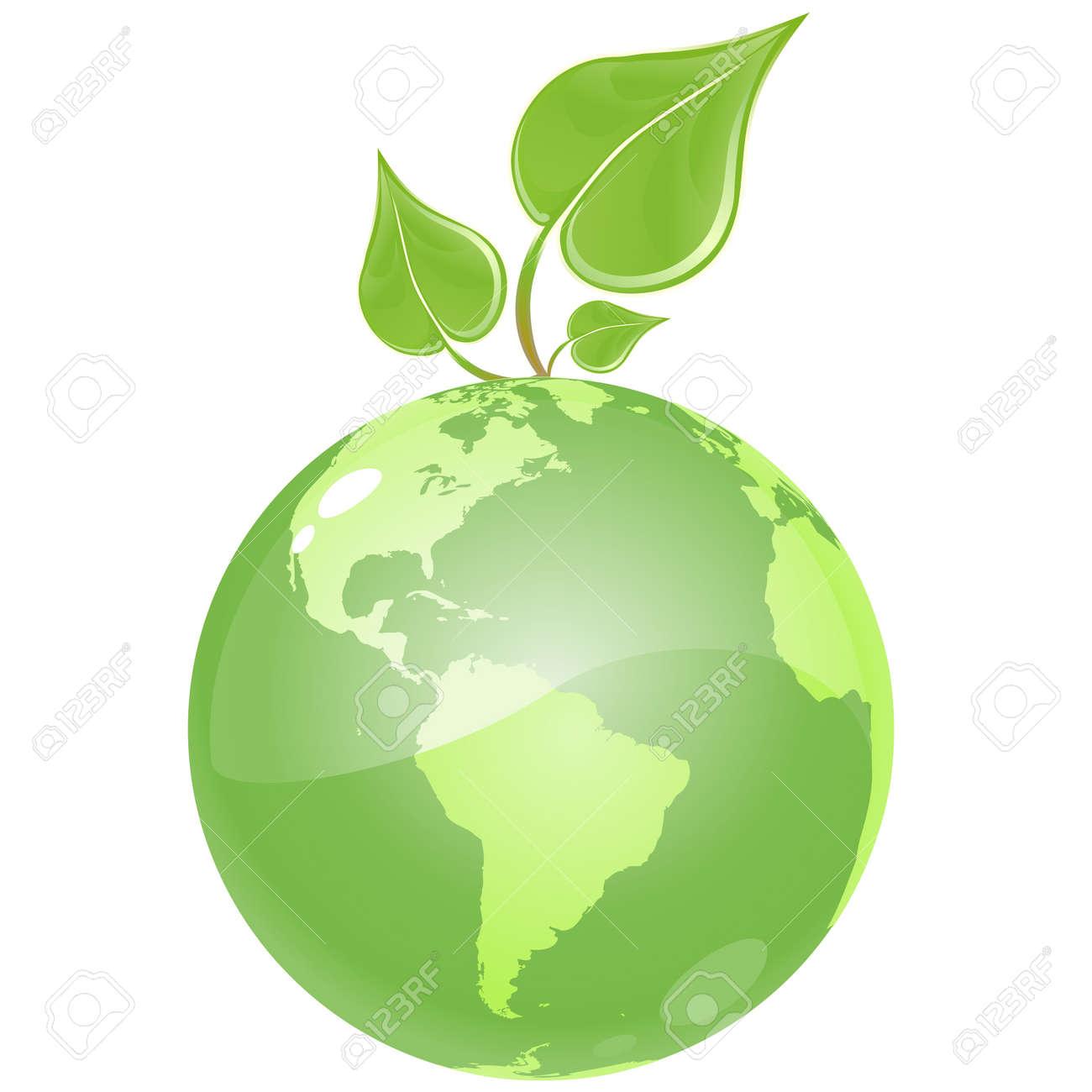 Vector - vector clip art of an Green Globe Clip Art