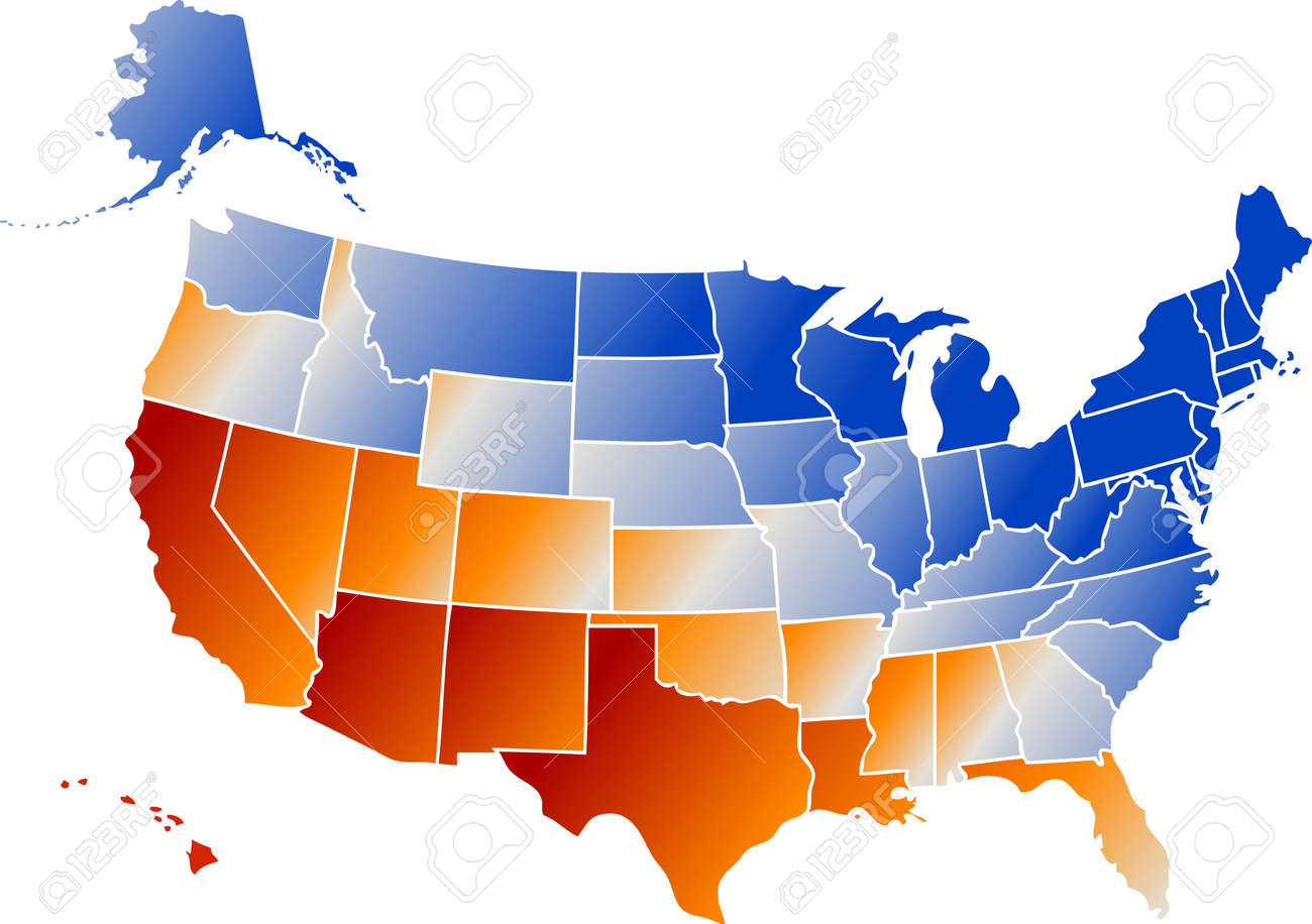 Vector Clip Art Map Of United States Of America USA With All - Us map including alaska