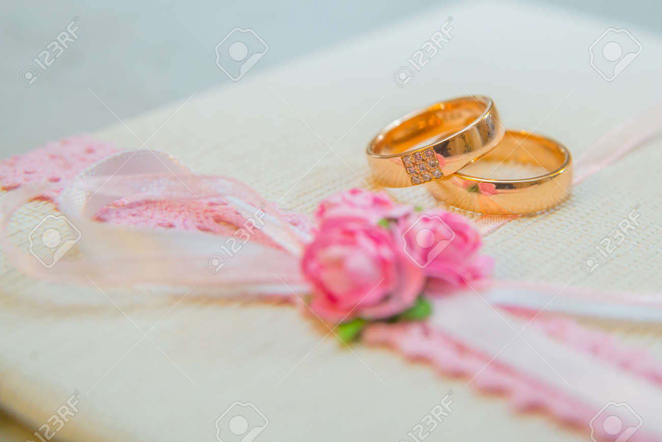 Two Beautiful Wedding Gold Rings With Diamonds Stock Photo ...
