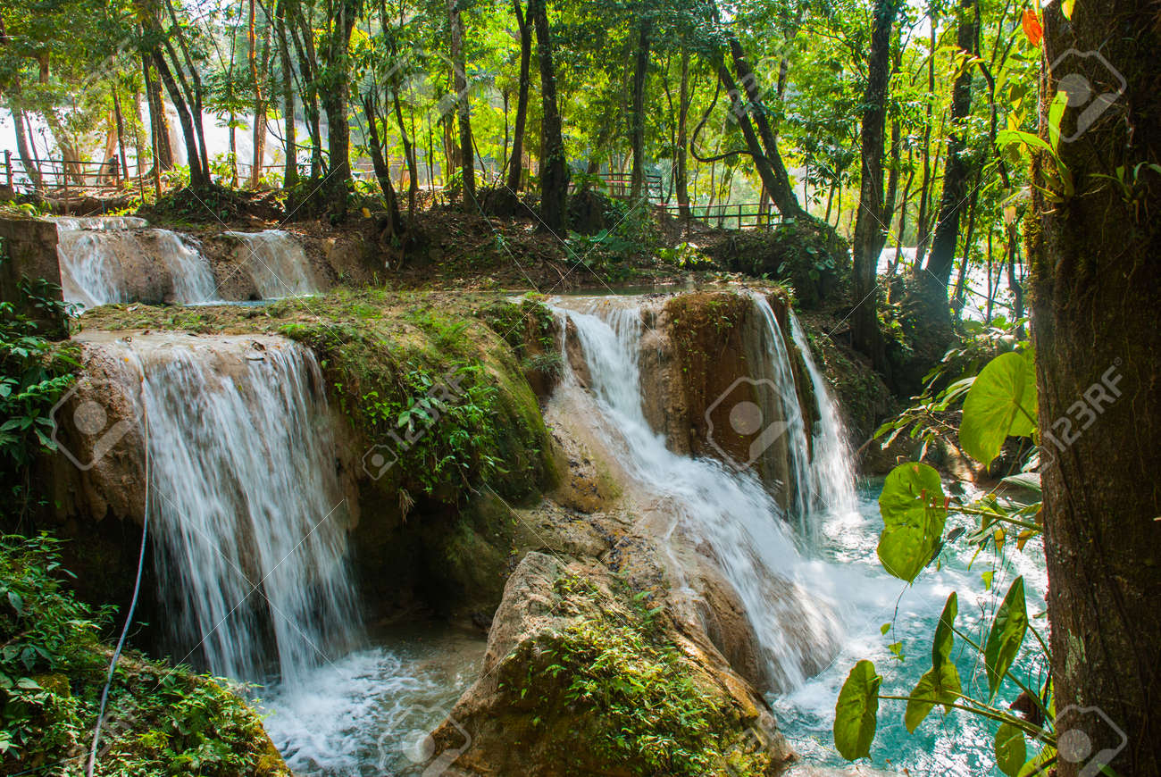 Magnificent Waterfall In Mexico Beautiful Scenery Overlooking The Agua Azul Near Palenque State
