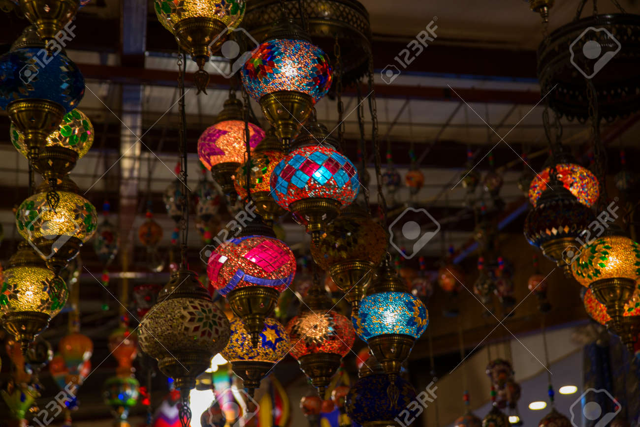 Multicolored Traditional Handmade Turkish Lamps On The Market Stock Photo Picture And Royalty Free Image Image 112646514