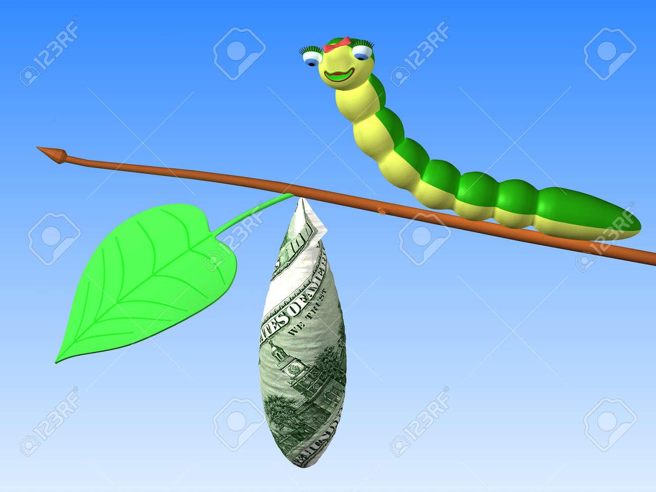 The Three Dimensional Cartoon Image Of A Caterpillar Sitting