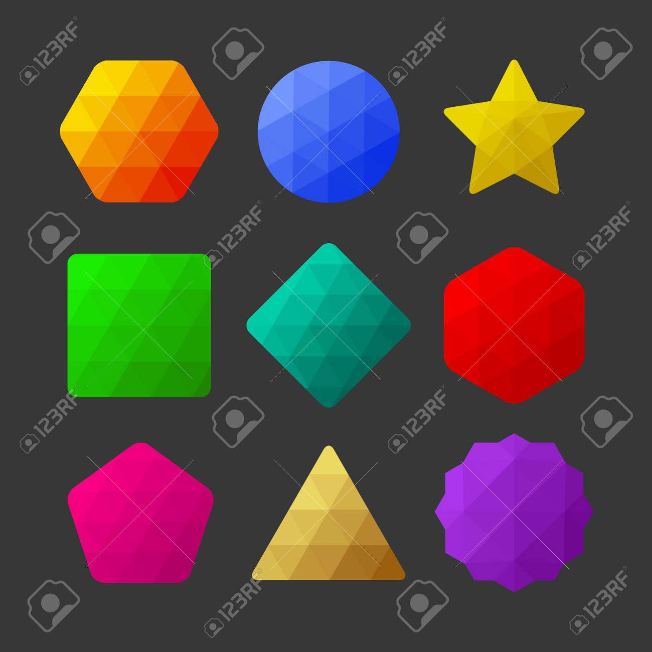 Conjunto De Elementos De Diseño De Figuras Geométricas Poligonales