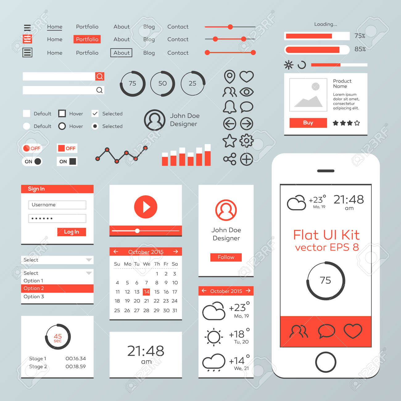 flat mobile web ui kit royalty free cliparts vectors and stock