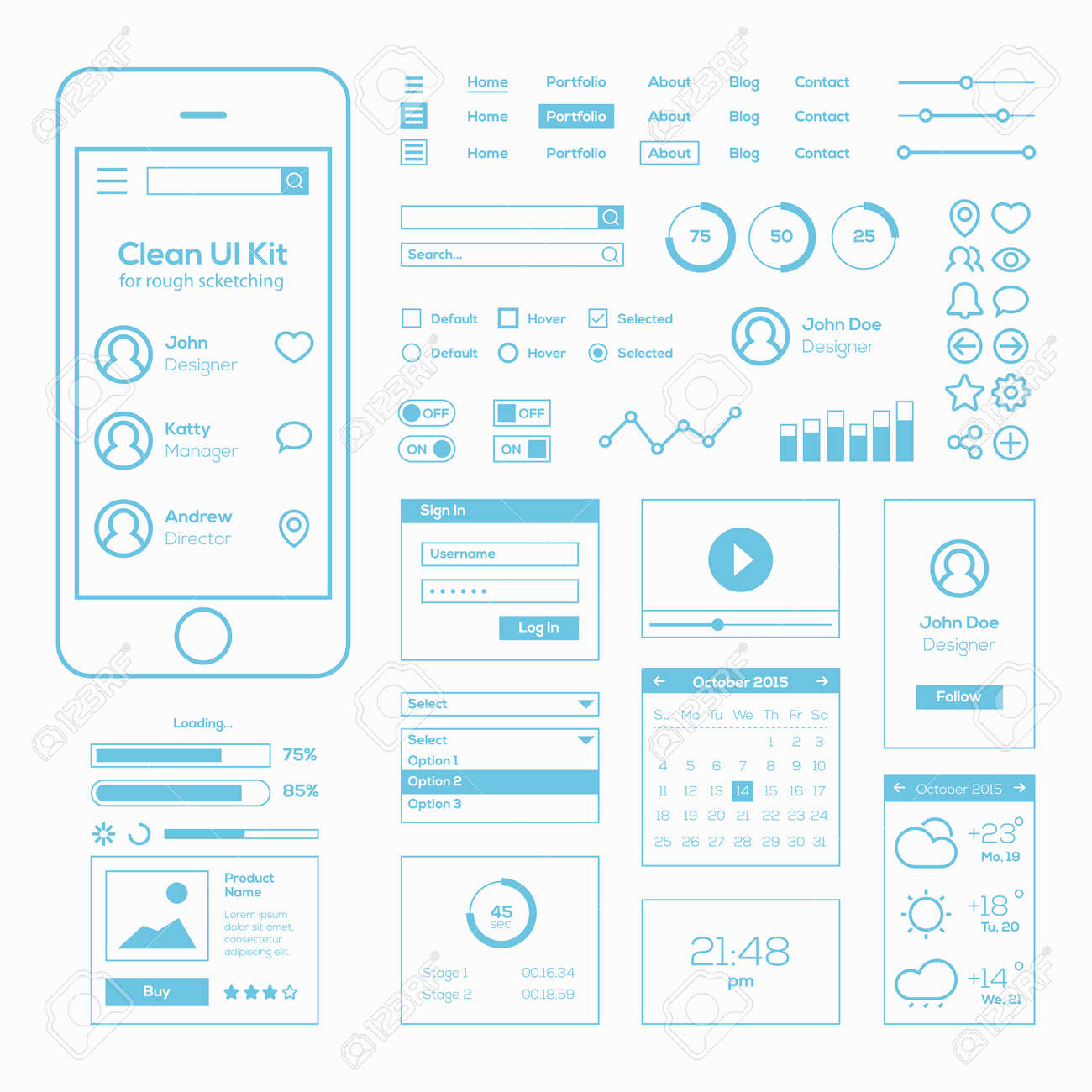 clean mobile web ui kit royalty free cliparts vectors and stock