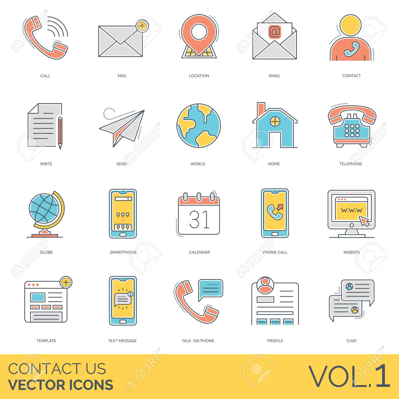 Contact Us Icons Including Call Mail Location Email Write Royalty Free Cliparts Vectors And Stock Illustration Image 127302235