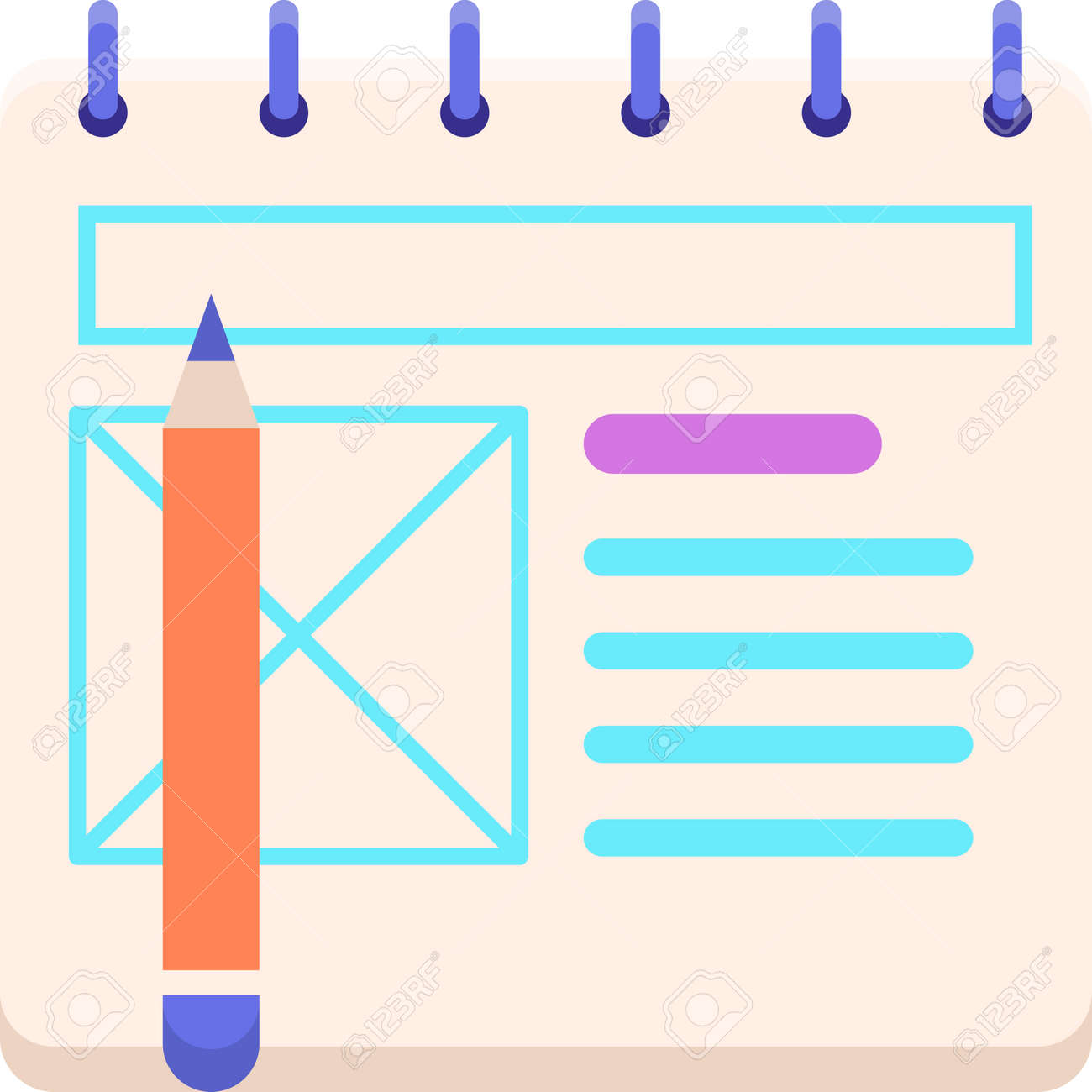 Vector vector flat icon of wireframe sketching using paper and pencil illustration