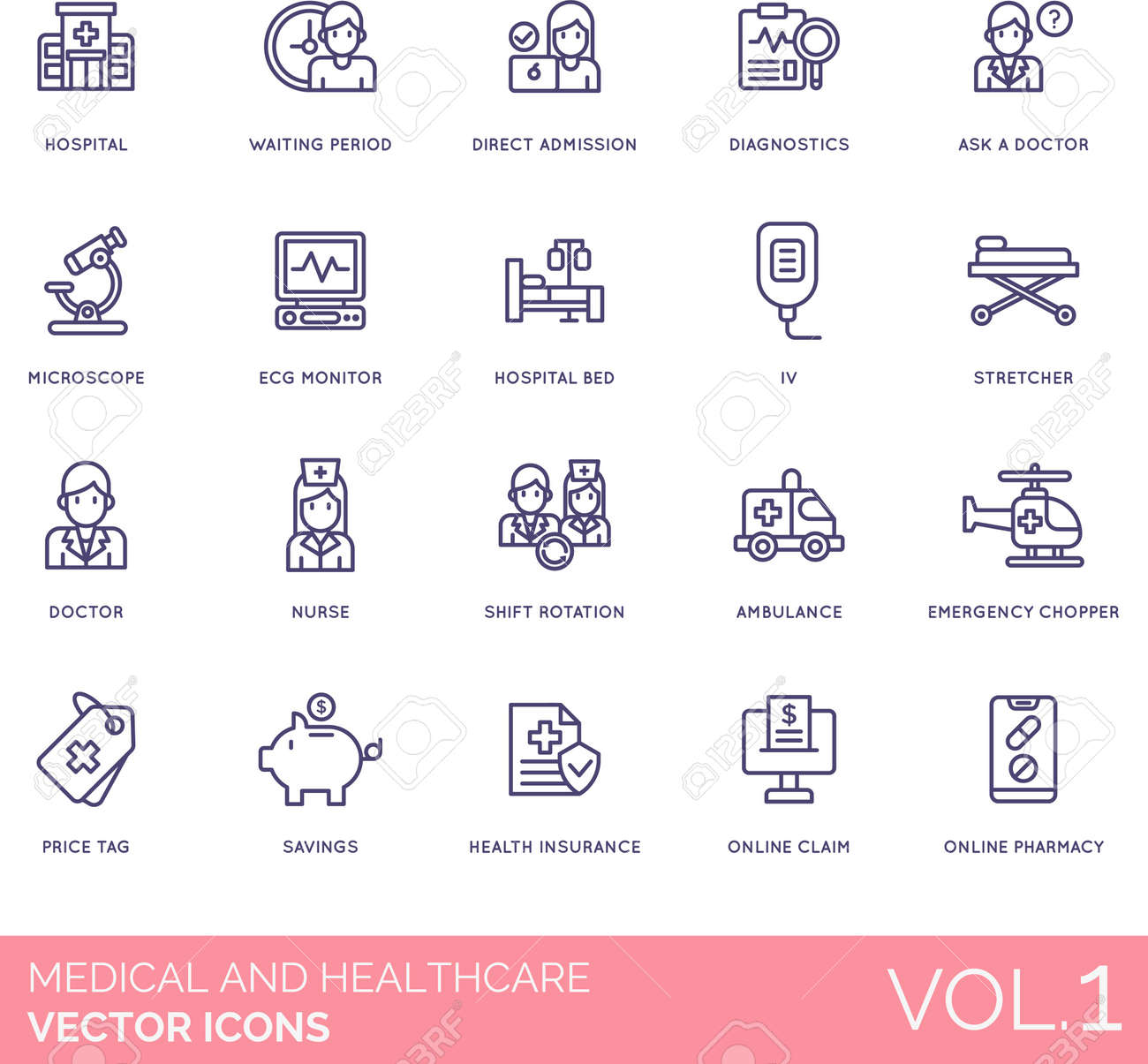 Medical and healthcare icons including hospital, waiting period, direct admission, diagnostics, ask a doctor, microscope, ECG monitor, bed, IV, stretcher, nurse, shift rotation, ambulance, emergency chopper, price tag, savings, health insurance, online claim, pharmacy. - 145615184
