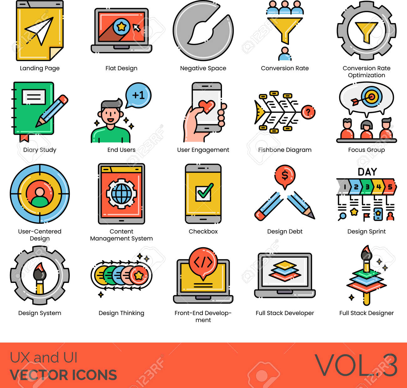 UX and UI icons including landing page, flat design, negative space, conversion rate optimization, diary study, end user, engagement, fishbone diagram, focus group, user-centered, CMS, checkbox, debt, sprint, system, thinking, front-end development, full stack developer, designer. - 147236995