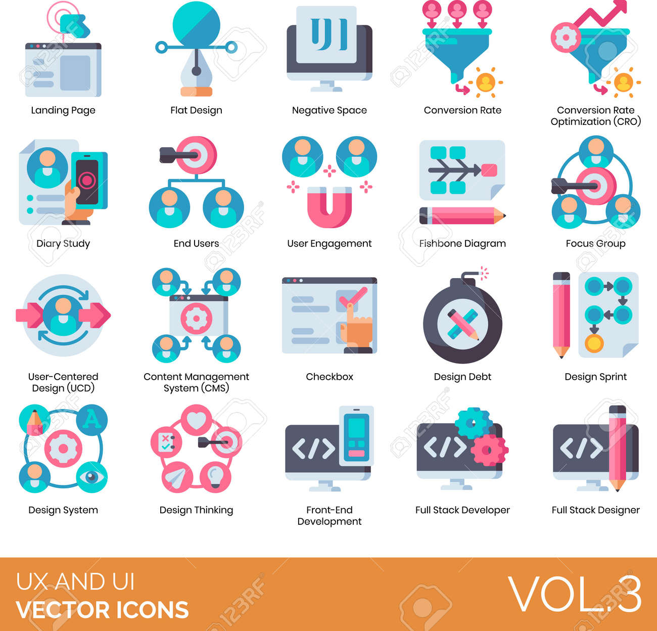 Flat icons of UI and UX, content management system, developer, end user - 150078117