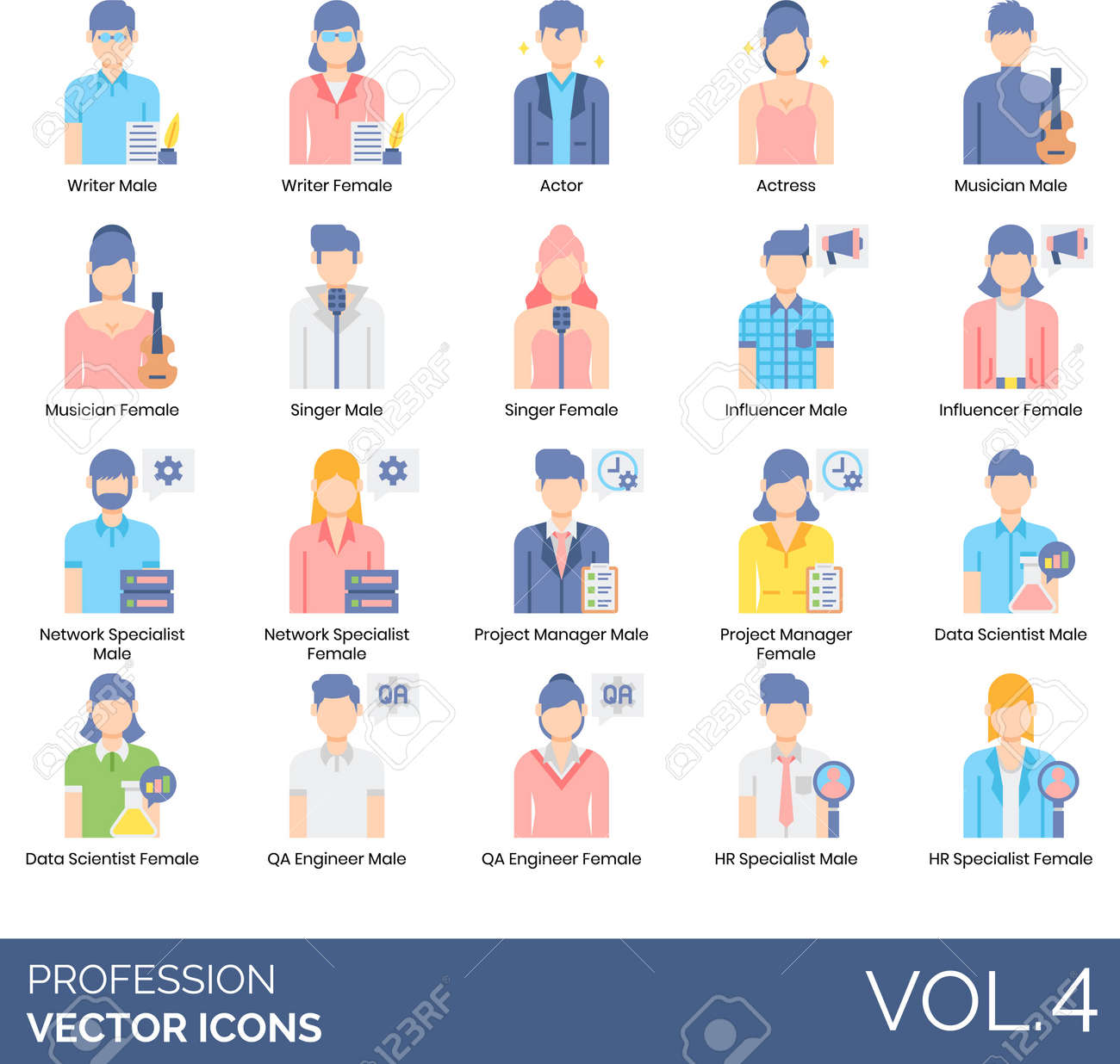 Flat Icons Of People And Profession, Career, User Avatar ...