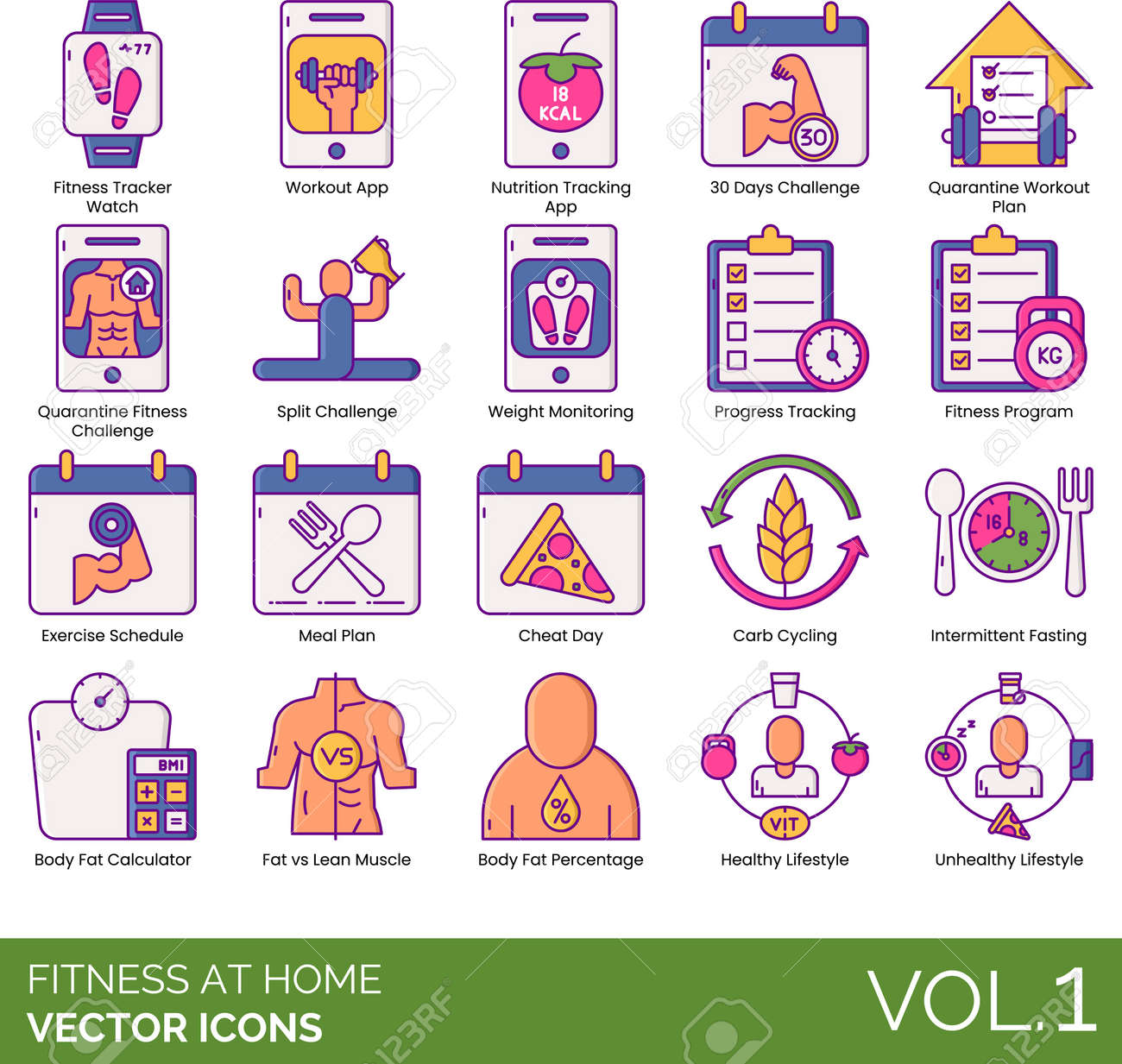 Line icons of fitness at home and healthy lifestyle, workout app, diet program, body fat calculator - 155046410