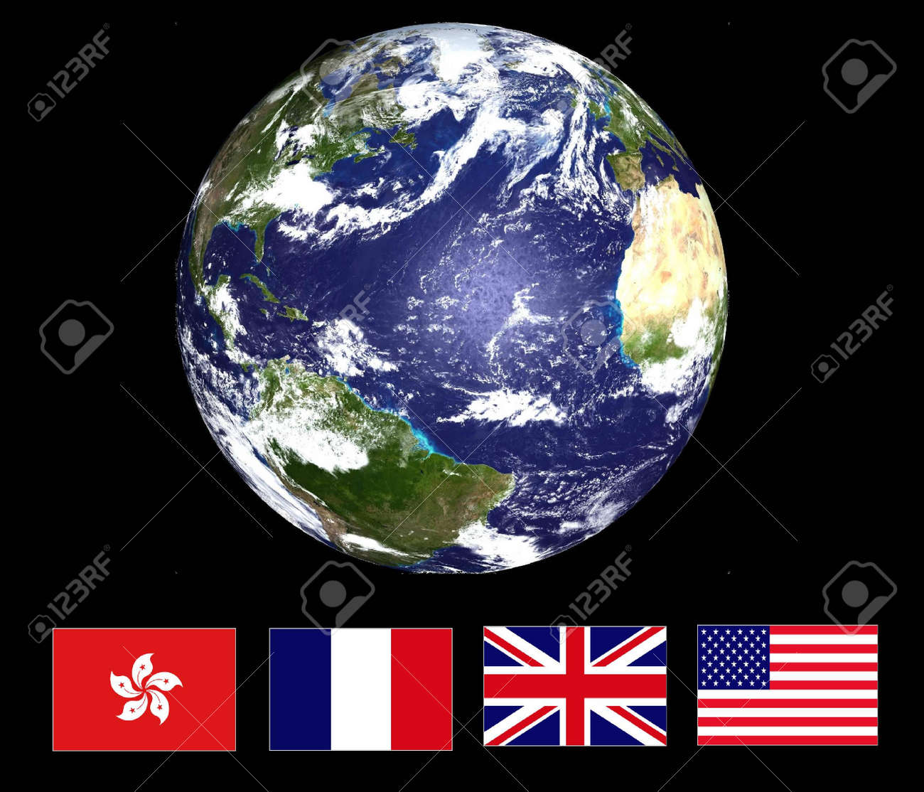 Earth & National Flags Stock Photo - 2983177
