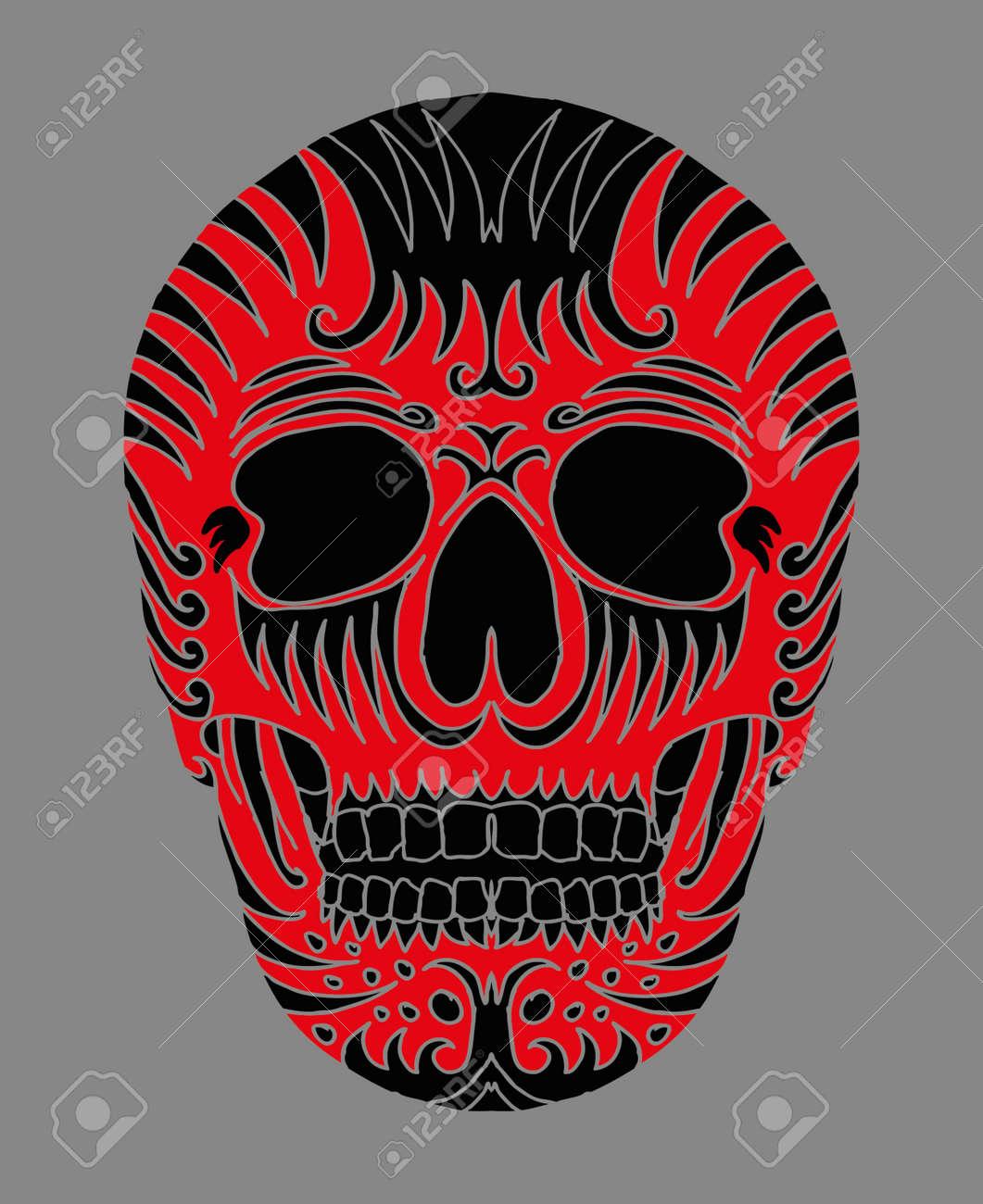 tattoo tribal mexican skull vector art Stock Vector - 19440456