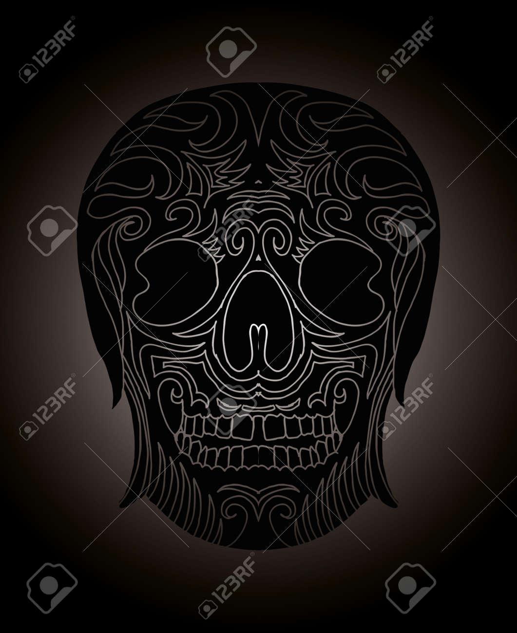 tattoo tribal mexican skull vector art Stock Vector - 19440492