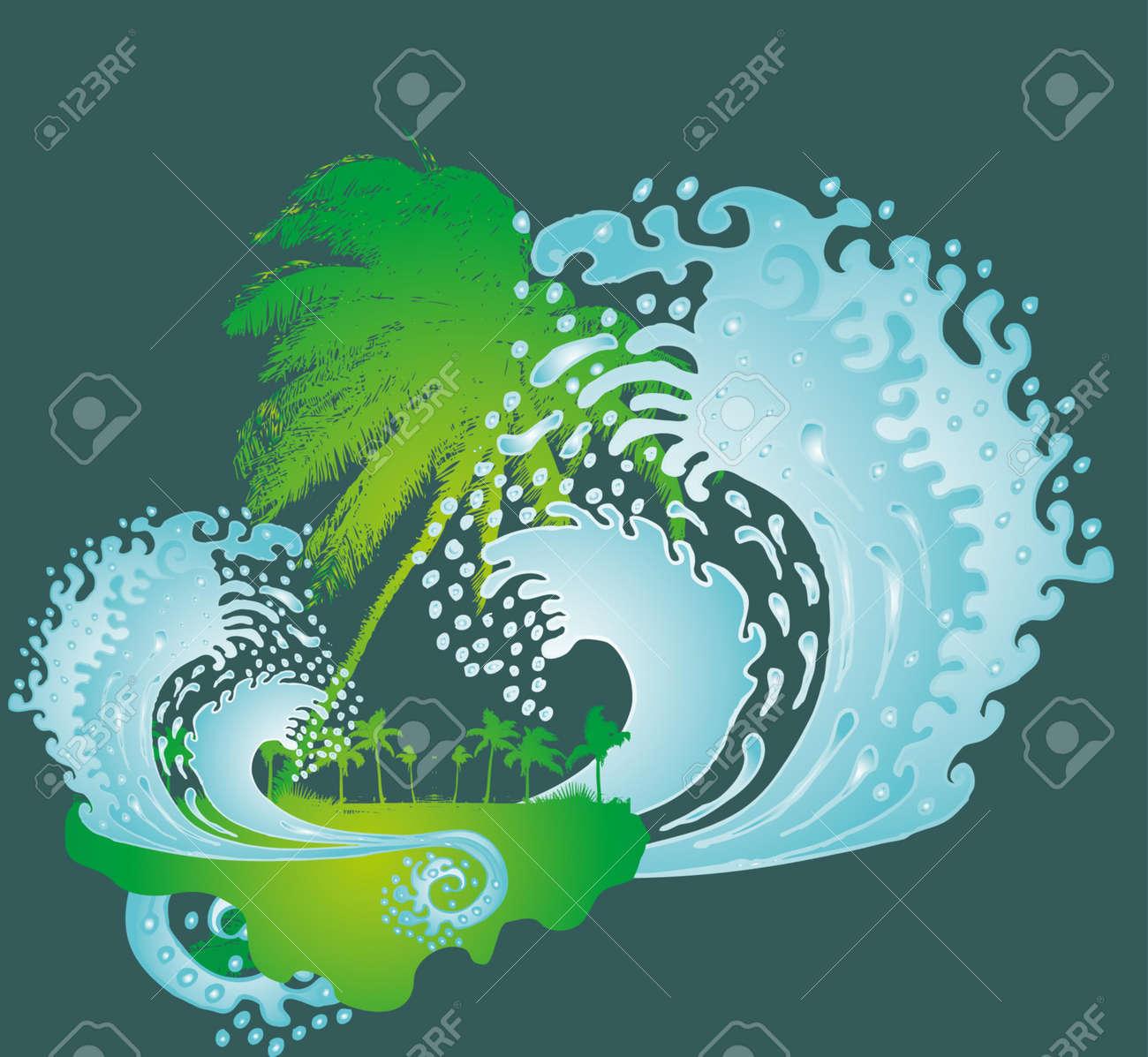 pacific palm beach big waves vector art Stock Vector - 19648521