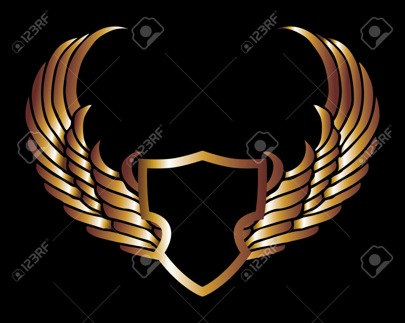 metalic gold wings and shield vector art Stock Vector - 19648466