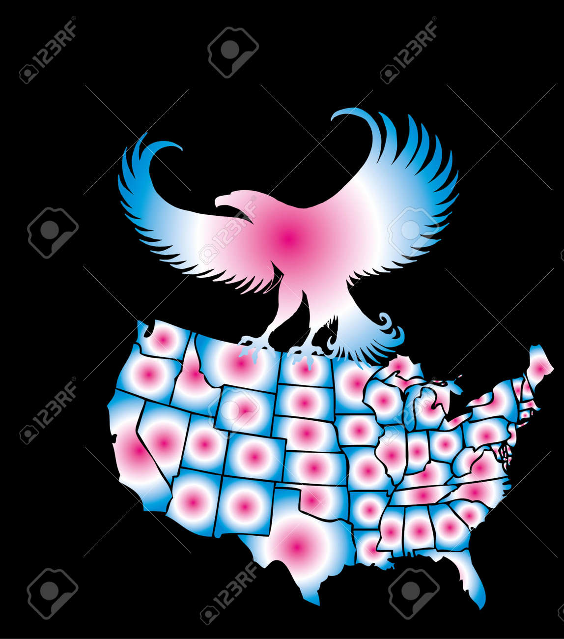 american map and eagle eps8 vector art Stock Vector - 22270930