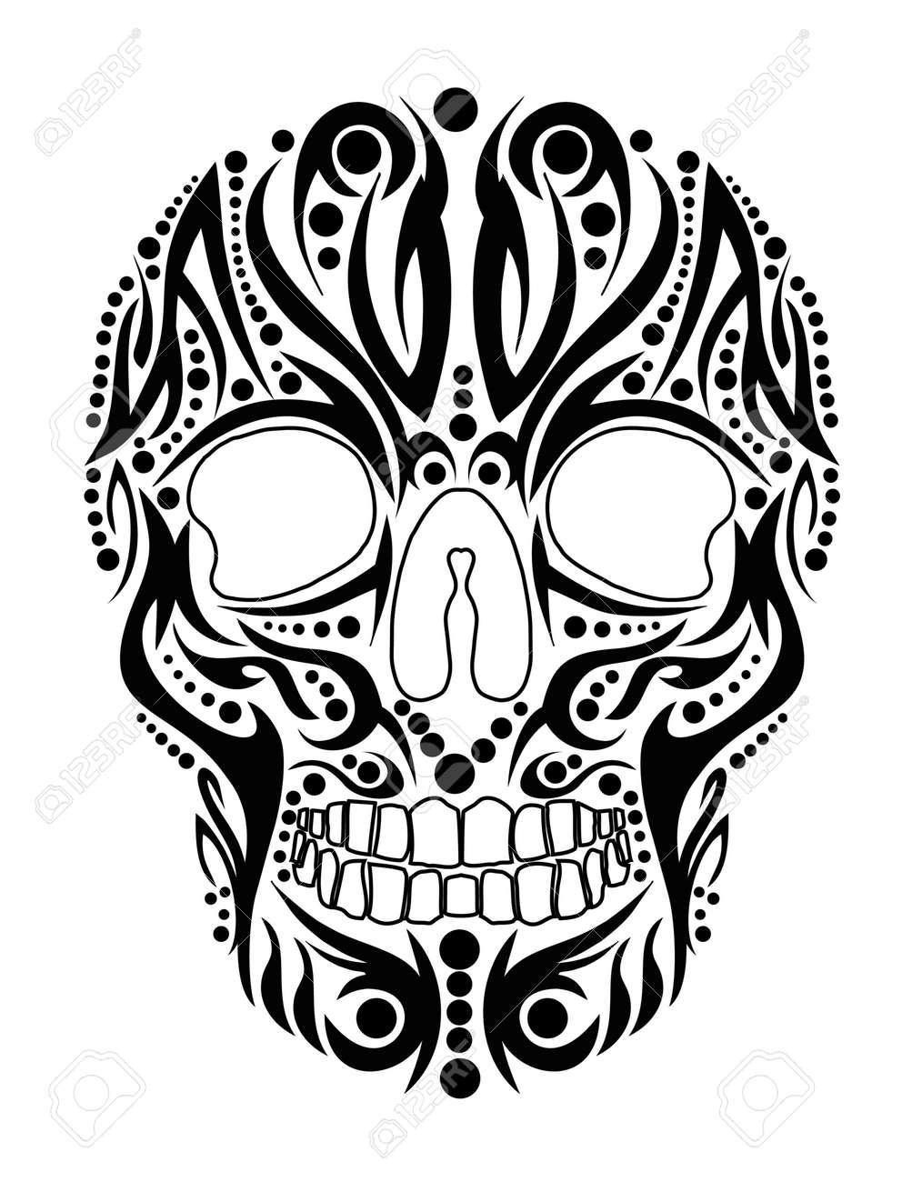tattoo tribal skull vector art royalty free cliparts vectors and rh 123rf com free skull vector art skull vector free download