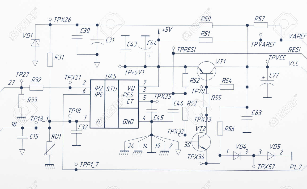 Detailed Drawing Of Electrical Circuits Stock Photo, Picture And ...