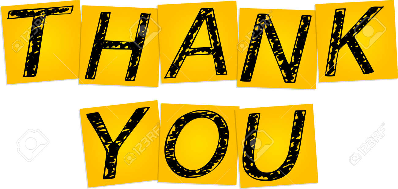 inscription thank you on the yellow square stickers royalty free