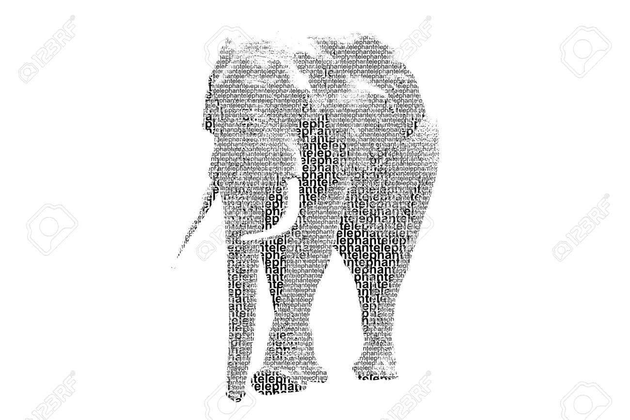 word elephant mixed to be figure of elephant with typography