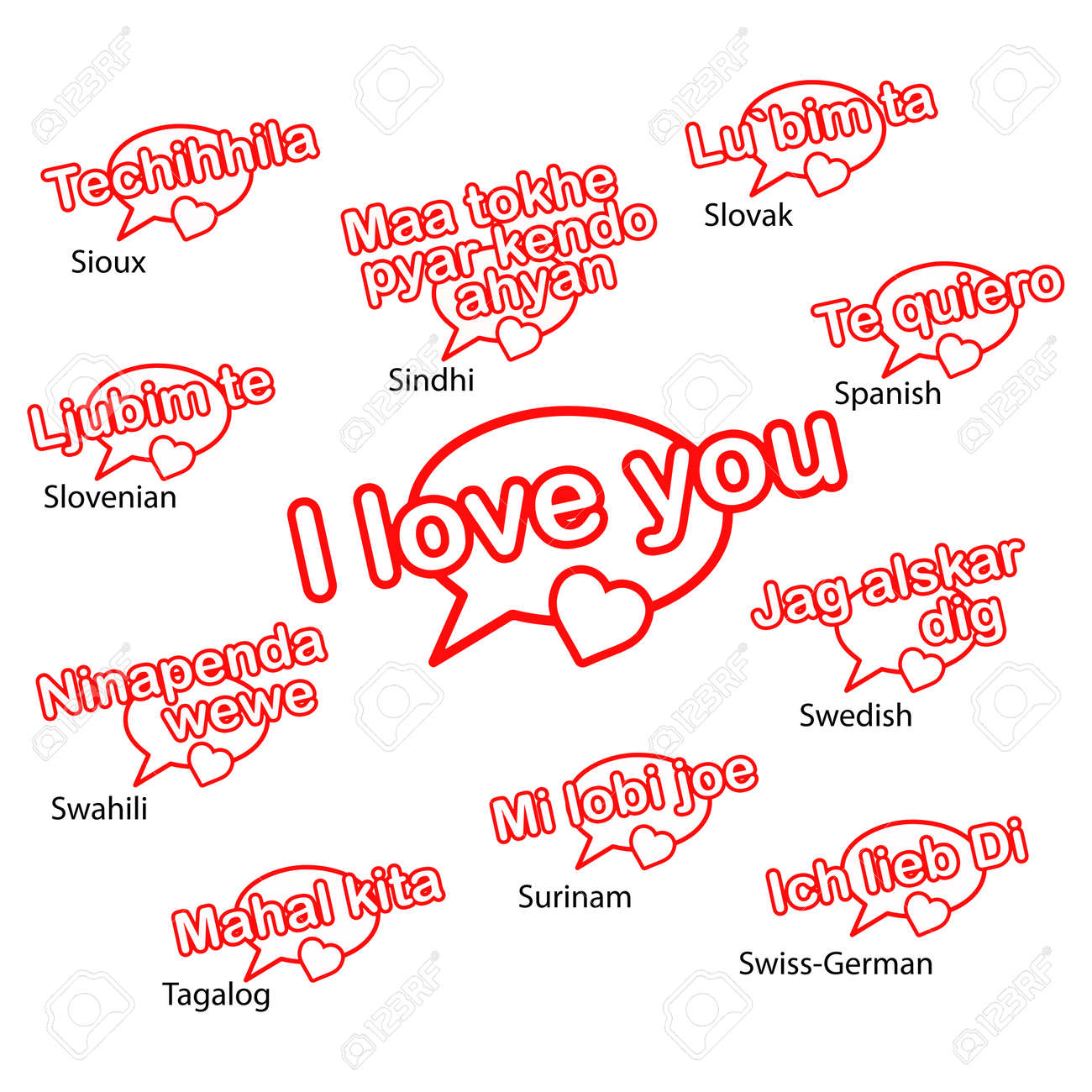 word i love you in eleven languages love concept royalty free