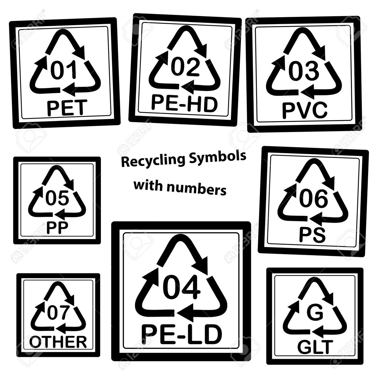 Recycling symbols with numbers for plastic isolated on white recycling symbols with numbers for plastic isolated on white background stock vector 37266786 biocorpaavc