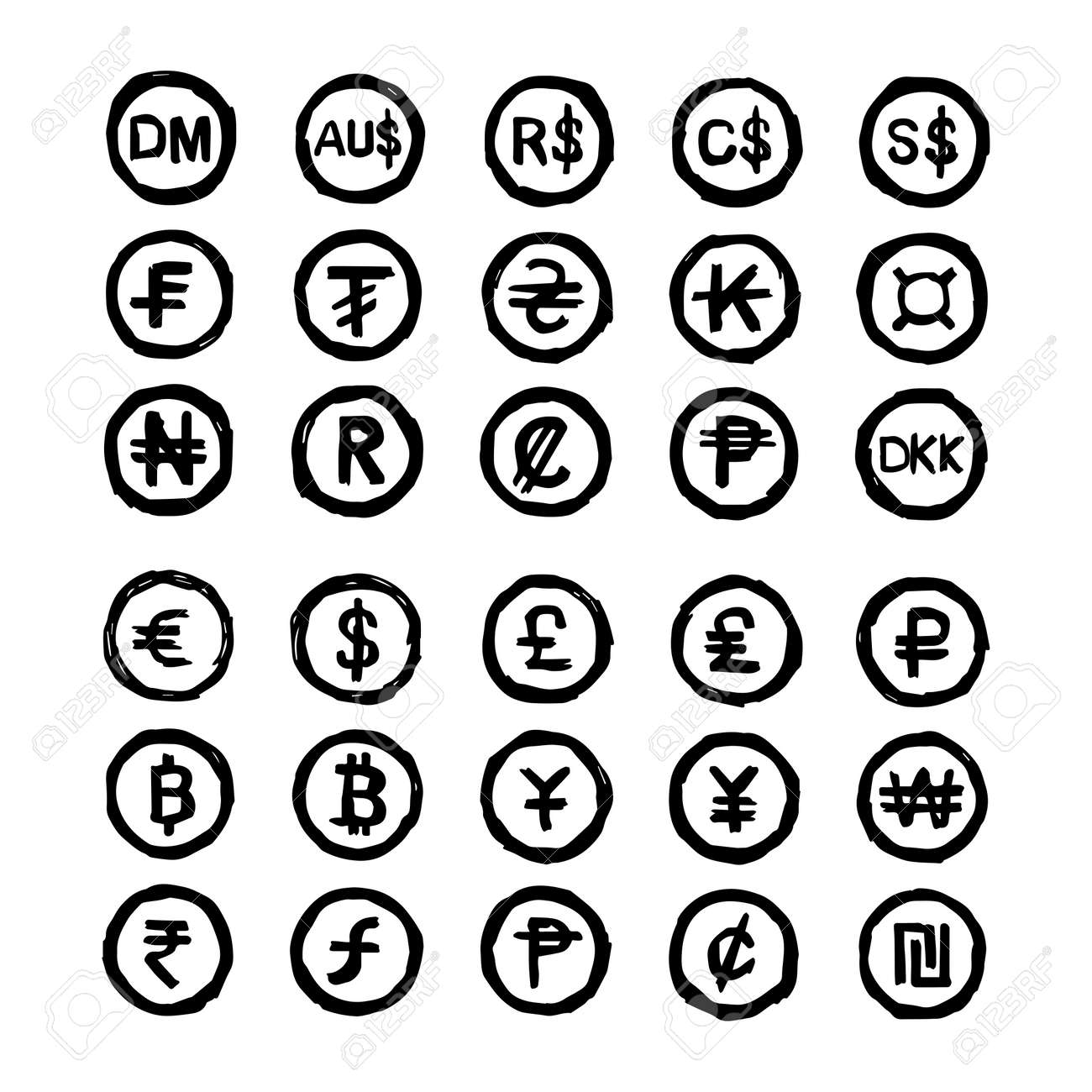 Illustration Vector Hand Drawn Doodles International Currency