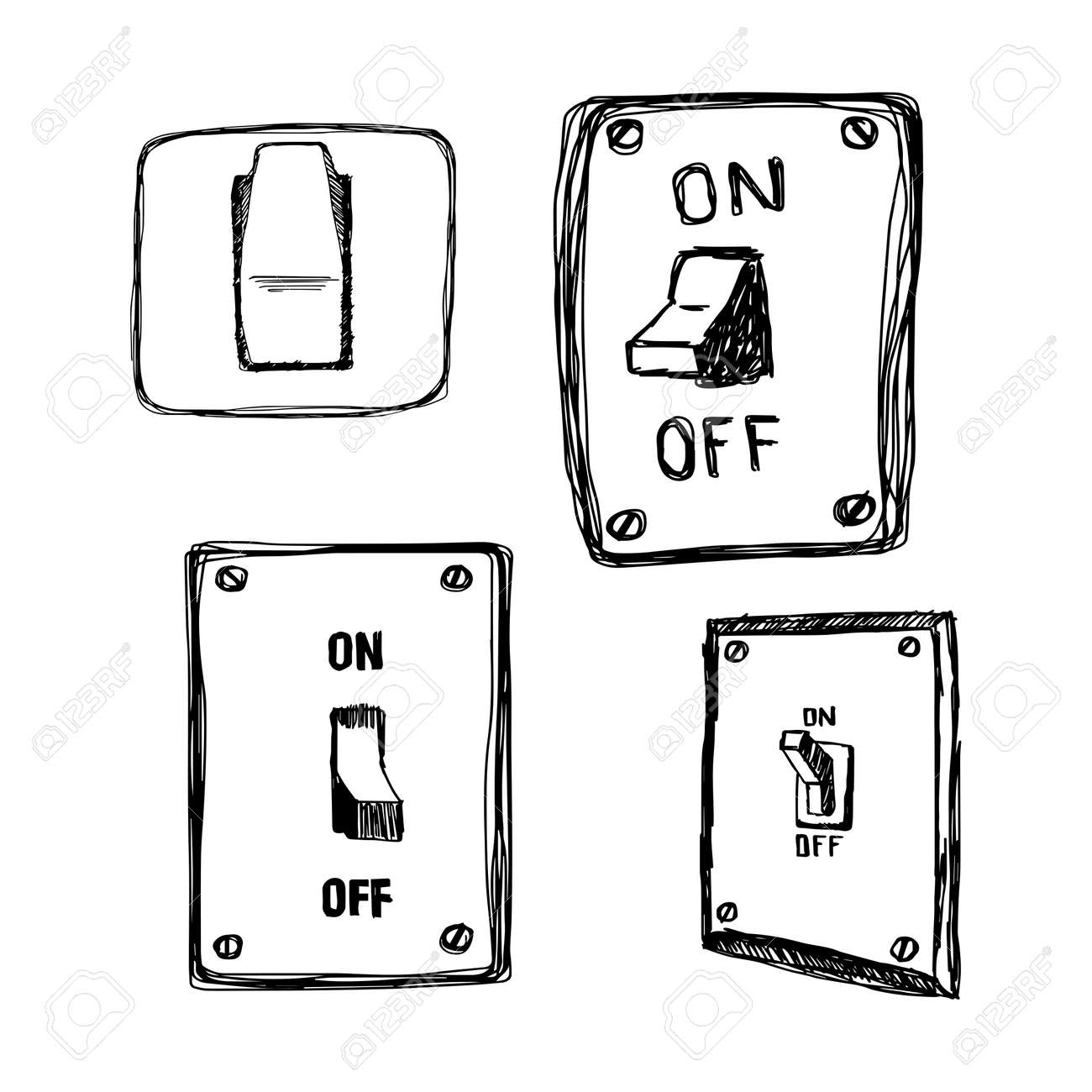 Illustration Vector Hand Drawn Doodles Single Wall Light Switch Stock