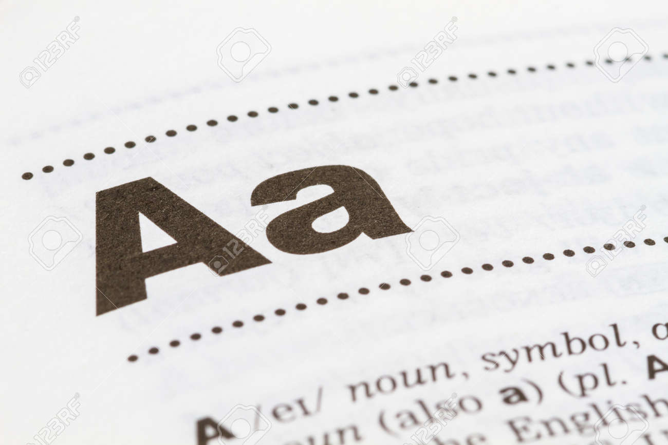Closeup Letter A In Dictionary, Soft Focus, Stock Photo, Picture