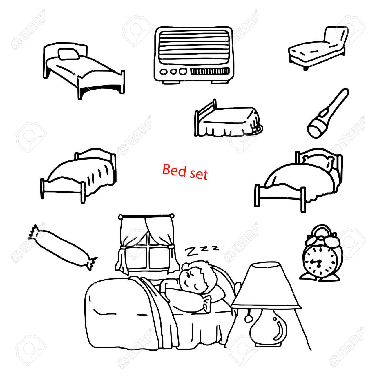 il vettore dell\'illustrazione scarabocchia la camera da letto ...