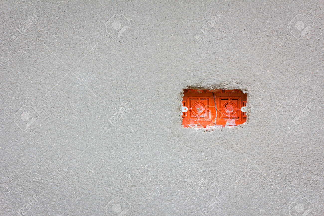 Empty Red Wire Box For Power Outlet Installation With Copyspace ...