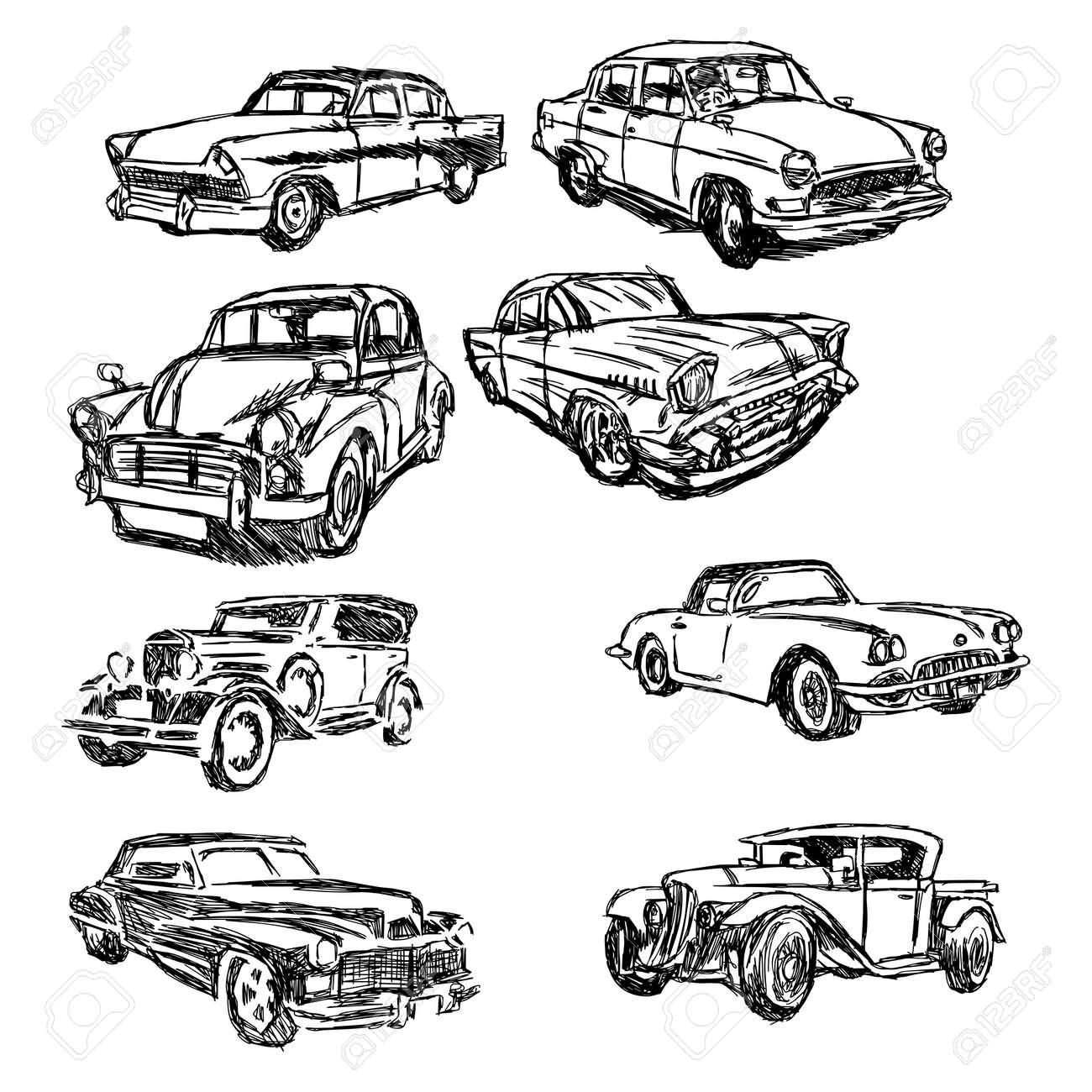 Illustration Doodle Hand Skizze Set Altes Auto Gezeichnet Isoliert ...