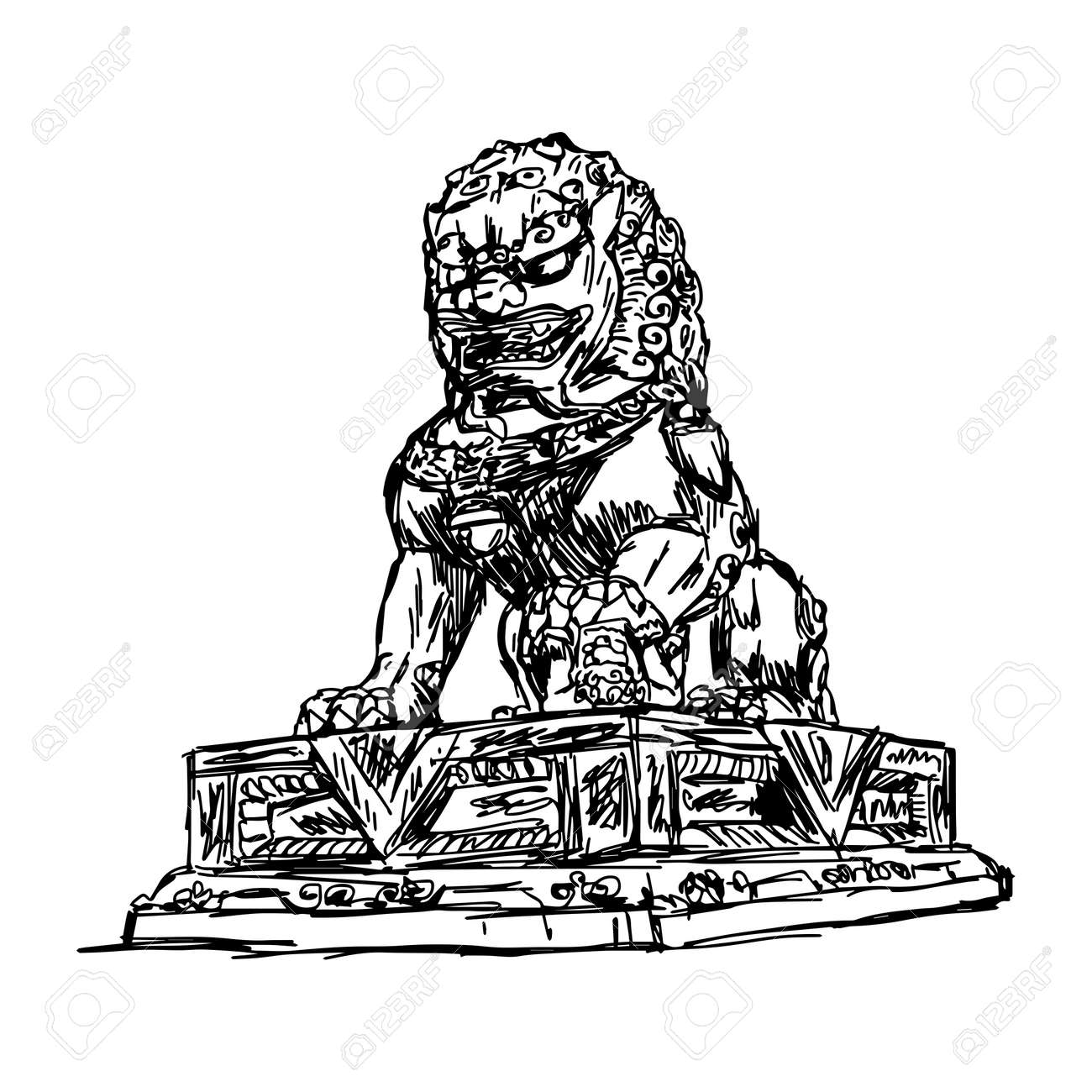 Illustration Vector Doodle Hand Drawn Of Sketch Big Bronze Lion In Forbidden City China