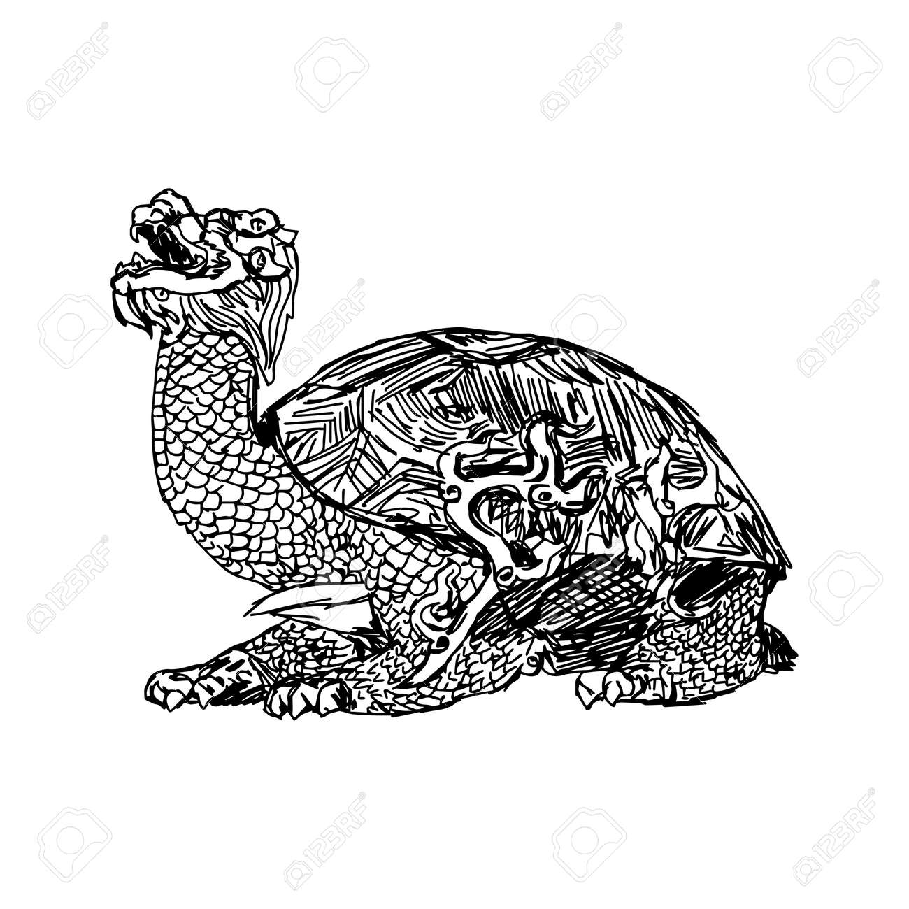 Illustration Vector Doodle Hand Drawn Of Sketch Bronze Statue A Turtle In Forbidden City