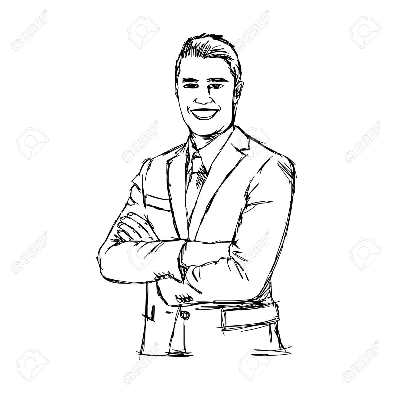 illustration doodle hand drawn of sketch smiling businessman with crossed arms. Body language. Nonverbal communication posture - 53084162
