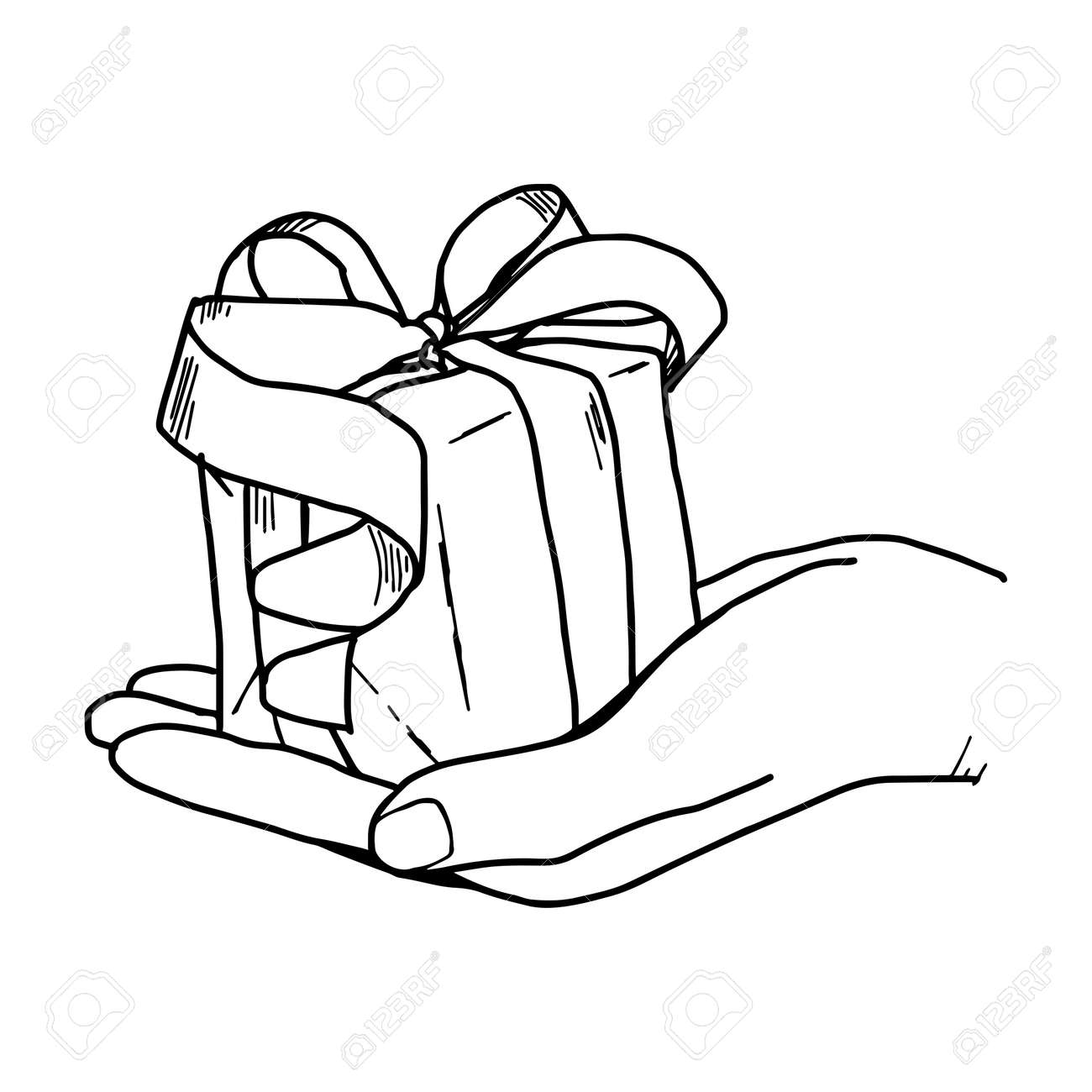 illustation vector hand drawn doodle of hand holding a gift box
