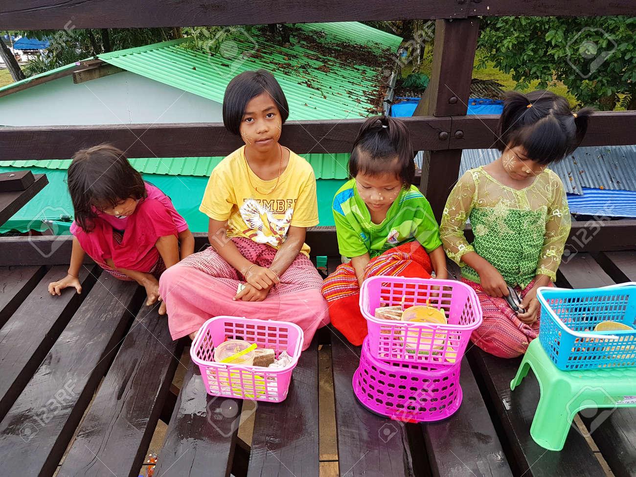 KANCHANABURI, THAILAND - NOVEMBER 25: unidentified Burmese girls